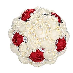 TMISHION Flores de Boda, Ramo de Novia de Cristal Flores Artificiales, Ramo de Mano de Boda Decoraciones de Boda Flores…