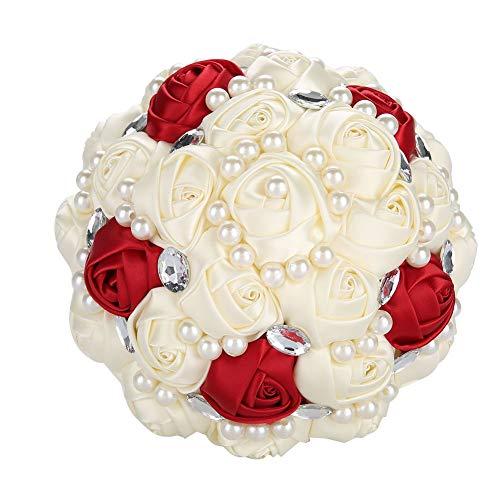Pongnas Ramo de Novia, Romántico Rojo y Blanco Rosa Ramo de Cristal Novia Dama de Honor Boda Perla Ramo Flor Artificial Flor Falsa(Beige + Vino Tinto Brillante 21 cm)