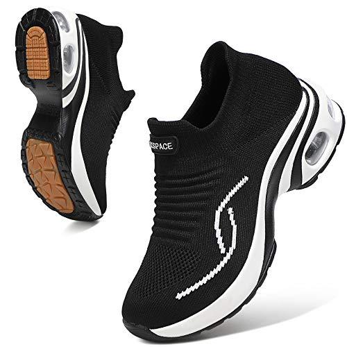Sixspace Damen Sneaker Turnschuhe Atmungsaktiv Laufschuhe Leichtgewichts Walkingschuhe Sportschuhe Freizeitschuhe Straßenlaufschuhe Trainer für Outdoor Fitness Gym(Schwarz,39.5 EU)