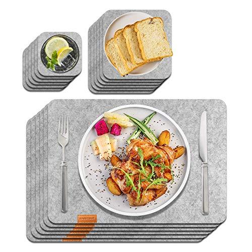 Sportout 6er Set Anti-Rutsch Tischset, anthrazitfarbene platzsets aus Filz abwischbare Filzmatte aus 30 x 45 cm, grau/Schwarze Matte (Untersetzer, Schüsselmatte enthalten)