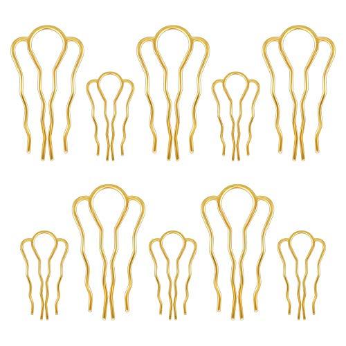 10 Pcs Épingle à Chignon Épingle à Cheveux en Alliage de Zinc Épingle à Cheveux en Forme de U 4 Dents Épingle à Cheveux de Style Dame Torsion Épingle à Cheveux Doré Bricolage pour Femme Fille