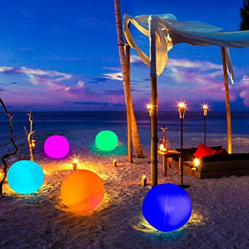 Leuchtend Led Strandbälle Wasserball,Schwimmende Poolbeleuchtung,13 Farben Glowing Ball Aufblasbar Led Wasserball Beleuchtung Poollicht Nachtlicht,für Schwimmbad Strand Party Gartenschwimmen16