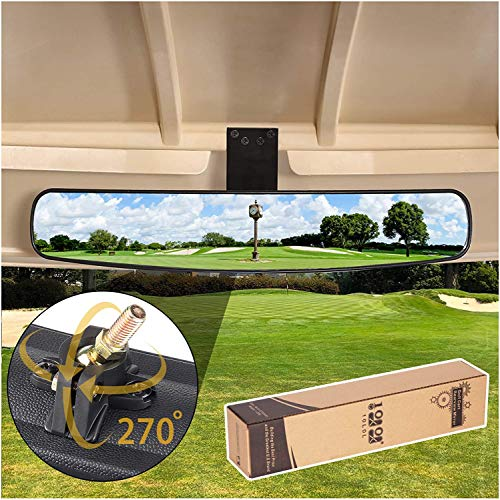 10L0L Adjustable Rotatable Golf Cart Rear View Mirror, Universal Safe 270 Rotation 16.5' Extra Wide Rear View Convex Golf Cart Mirror for EZ Go, Club Car, Yamaha