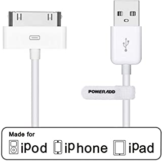POWERADD Apple Certified iPhone 4 4s 3G 3GS iPad 1 2 3 iPod Touch Nano 30 Pin Charger USB Sync Cable Charging Cord Dock Adapter Data 4 Feet White