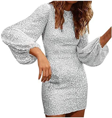 MLDFS Damen Paillettenkleid Langarm Rosa Partykleider Sexy Kurz Pailletten Abendkleider Kurz Glitzer Ballkleid Festliches Kleid Bodycon Knielang...