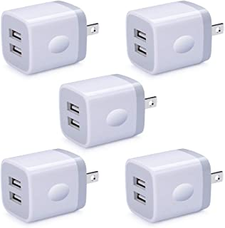 5 Pack USB Wall Plug, HUHUTA Dual Port 2.1A Universal Phone Wall Charger Block Box Cube Replacement for iPhone, iPad, Samsung Galaxy S10/S9/Note 9, LG, Pixel, Moto, Google, HTC, and More