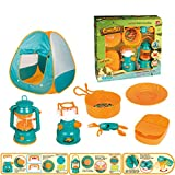 7pcs / Set Kids Camping Tent Set Toys Incluye Pop Up Play Tent Lamps Play Kitchen Food Pretend Role Play Set Kids Indoor and Outdoor Toys Gifts