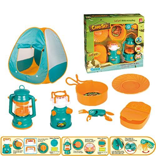 Juego de tienda de campaña para niños de 7 piezas / juego de tienda de campaña de juguete incluye tienda de campaña, lámpara de camping para la cocina, juego de comida, regalo para niños