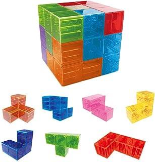 Ladrillos Magnéticos Niños, Juego Cubos Bloques Construcción Magnéticos, Cubo Mágico Magnético + 54 Piezas Tarjeta Muestr...