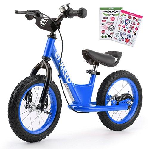 ENKEEO - Bicicleta sin Pedales, Bicicleta de Equilibrio, Entrenamiento Transicional en Bicicleta para lo Niños, Asiento Ajustable y Manillares Tapizados