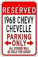 金属サイン1968シボレーチューベル錫駐車場サイン-インチ