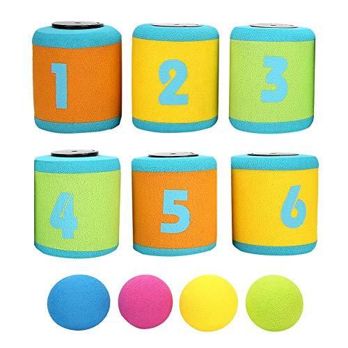 VGEBY Tin Throwing Toy, Kann Werfen Ziel Spielzeug Knock Down Spiel mit Bällen für Kinder
