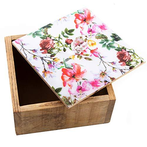 Logbuch-Verlag Pequeña caja de regalo de madera marrón rosa con diseño de flores, caja de regalo de madera, como idea de regalo, 15 x 15 cm