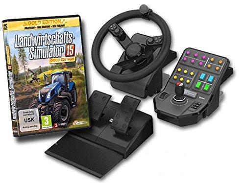 Landwirtschafts-Simulator 15 - Gold Edition inkl. Lenkrad, Pedale & Fahrzeugsteuerung (exkl. bei Amazon.de) - [PC]