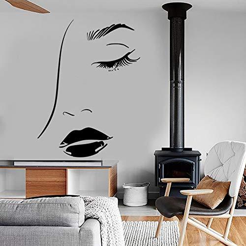 mlpnko Frau Gesicht Wandtattoo Augen Lippen Schönheit Friseursalon Friseur dekorative Wandaufkleber,CJX10302-55x72cm
