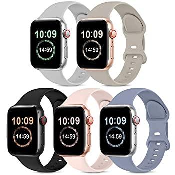 5 Pack Bands Compatible with Apple Watch Band 38mm 40mm Soft Silicone Sport Replacement Strap Compatible with iWatch Series 6 5 4 3 2 1 SE Women PinkSand/Stone/Lavender Gray/Black/Gray 38mm/40mm S/M