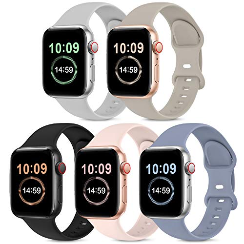 5 Pack Bands Compatible with Apple Watch Band 38mm 40mm 42mm 44mm, Soft Silicone Sport Replacement Strap Compatible with iWatch Series 6 5 4 3 2 1 SE Women Men PinkSand/Stone/Lavender Gray/Black/Gray
