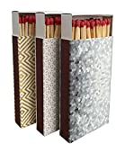 Box Matches, Long Wooden Matches, Strike on Box - Kitchen Matches - Decorative Candle and Fireplace Wood Matches- 3 Pack - 135 Matches Total (Geometric Design)