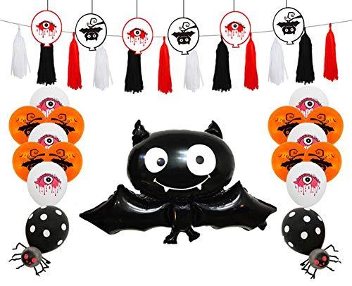 Siumir Globo de Halloween Globo de Papel de Murciélago Happy Halloween Banner Decoración de Fiesta de Hallowee(41 PCS)