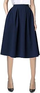 Urban CoCo Women's Flared A line Pocket Skirt High Waist Pleated Midi Skirt