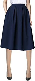 Urban CoCo Women's Flared A line Pocket Skirt High Waist Pleated Midi Skirt