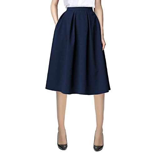 8ea9b832a Urban CoCo Women's Flared A line Pocket Skirt High Waist Pleated Midi Skirt
