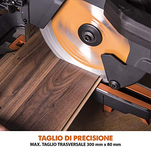 Evolution Power Tools R255SMS+ Troncatrice Radiale Scorrevole Multi-Materiale 255 mm con Pacchetto Plus, 230 V