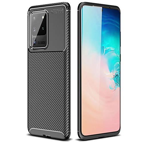 TECHGEAR Funda Compatible con Samsung Galaxy S20 Ultra [Funda CarbonFlex] Carcasa con Fibra de Carbono Anti-Choques Duradero y Diseño de Fácil Agarre [Compatible con Carga Inalámbrica] - Negro