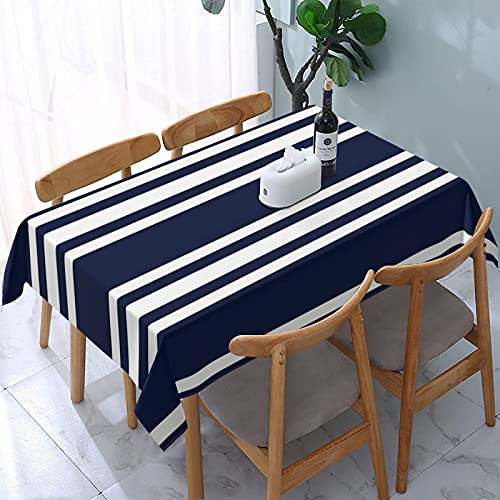 Mantel a Rayas Azul Marino, náutico, Reutilizable, mesas rectangulares, Cubierta de Comedor, poliéster, Impermeable, a Prueba de Aceite, Cubierta de Mesa 137X183CM