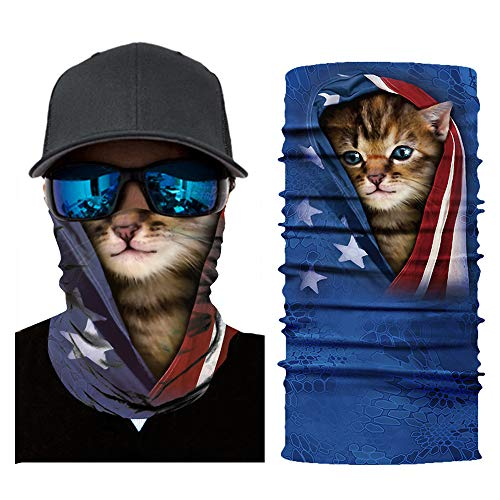 SRVOKOX Cat Animal Seamless Tube Bandana Neck Gaiter Face Mask Covering Bandanas for Men Women Summer Cooling UV Face Scarf Mask Cover Magic Balaclava Headbands for Fishing Running Hunting Cycling