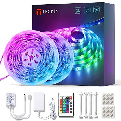 LED Strip RGB 10m, TECKIN LED Streifen mit IR Fernbedienung und Netzteil, Farbwechsel LED Band Wasserdicht 5050 ist geeignet für Zuhause, Party, Küche, Schlafzimmer, Schrankdekoration