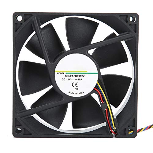 ASHATA Enfriador de CPU PWM, Ventilador silencioso de 90 mm Enfriador de Aire de CPU, 12V 0.60A Medición de Velocidad de Cuatro Cables Control de Temperatura Enfriador de chasis Ventilador