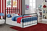 """DHP Brooklyn Metal Iron Bed w/ Headboard and Footboard, Adjustable height (7"""" or 11"""" clearance for storage), Sturdy Slats Included, No Box Spring Required, Full Size Mattress, Black"""
