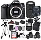 Canon EOS 80D Digital SLR Camera with EF-S 18-55mm is STM and EF 75-300mm Lens (Black) 21PC Pro Bundle Package Deal –SanDisk 64gb SD Card + LPE6 Replacement Battery + More - International Model