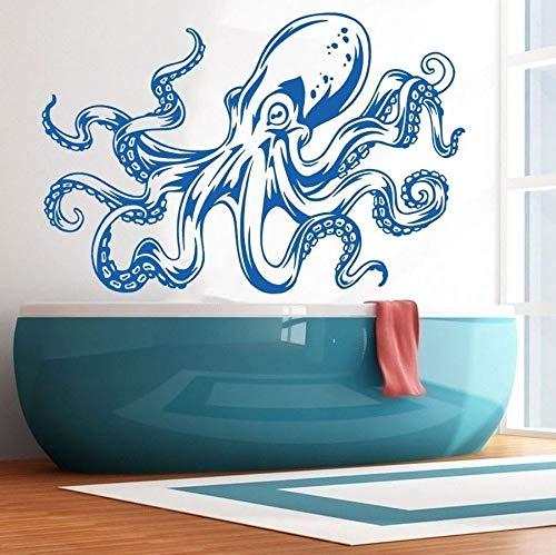 JJHR Wandtattoos Wandaufkleber Krake Tentakeln Wandtattoo Umweltfreundliche Meer Ozean Tier Kunst Wandbild Bad Wand Sricker Glaswand Papier 55 * 85 cm