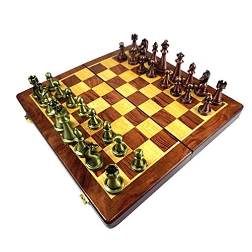Conjunto de ajedrez metálico, Plegable, portátil, con Piezas de Bronce magnéticas 11.8'x11.8, Tablero de ajedrez de Madera, niños Adultos