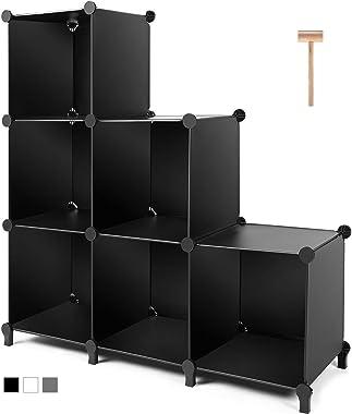 TomCare Cube Storage 6-Cube Closet Organizer Storage Shelves Cubes Organizer DIY Plastic Closet Cabinet Modular Book Shelf Or