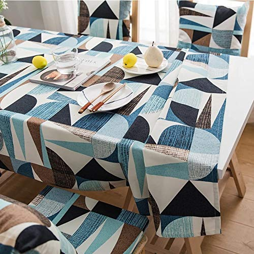 HTUO Tablecloths Rectangular Washable Table Cover Xmas Table Cloth Simple Nordic Style Tablecloth Blue Cotton Tablecloth Dustproof Cover Towel Thickened Dining Table 140 * 160cm