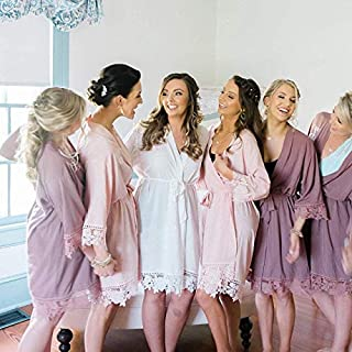 Set of 6 Bridesmaid Robes with Lace Trim - Bridal Party Kimono - Bride Robe - Monogrammed Cotton Robes by Shop On Eleven