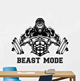 Kellysdesigns Beast Mode Wall Decal Sign Gorilla Barbell Vinyl Sticker Gym Quote Fitness Poster Motivational Decor Gifts Workout Wall Decor Crossfit Wall Art Fan Sport Bodybuilding Gym Mural 1084