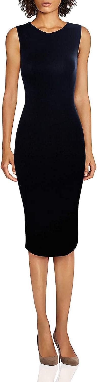 TAM WARE Women's Classic Slim Fit Scoop Neck Sleeveless Bodycon Midi Dress
