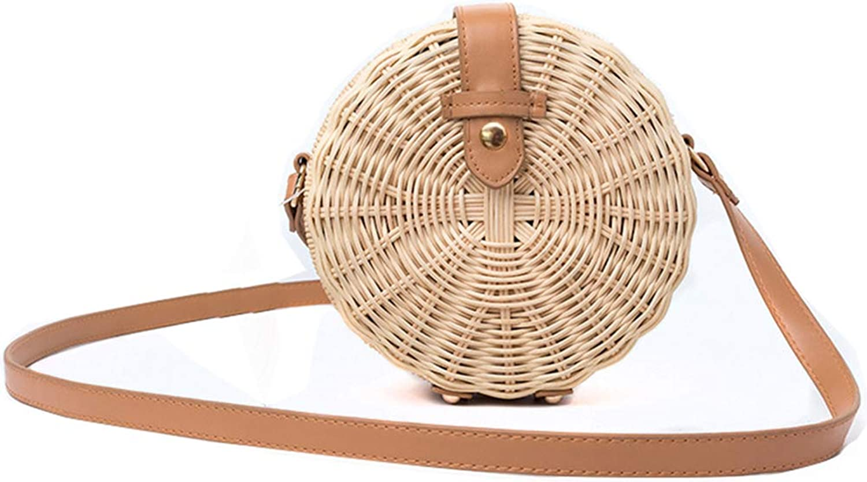 Hycurey Womens Round Straw Purse and Handbag Handmade Crossbody Bahs Summer Beach Sea Shoulder Bag