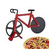 TDCQ Corta Pizza Bicicleta,Bicicleta Cortador de Pizza,Cortapizzas Profesional,Pizza Cutter Wheel,Corta Pizza Divertido,Cortapizzas,Cortador de Pizza Acero Inoxidable (Rojo)