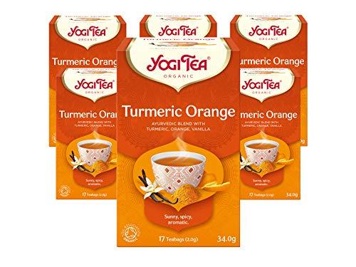 Yogi Tea Turmeric Orange Organic Herbal Tea, Naturally Caffeine Free, Blend of Turmeric, Orange and Vanilla, Pack of 6 x 17 Bags (102 Tea Bags Total)