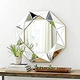 Garden Mile® Großer abgeschrägter Wandspiegel, Wandmontage, Heimdekoration, Glas, Wohnaccessoires, dekorativ, modernes Sonnenschliff, Juwel, Flur, Schlafzimmer, Bad, rund, Spiegel