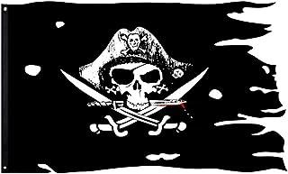 FLAGLINK Dead Man's Chest Skull Bones Jolly Roger Flag 3X4.8Fts Crossbone Pirate Banner Creepy Ragged
