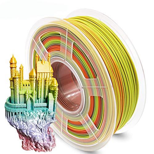 AnKun Pla Filament 1.75mm, Regenbogen PLA 3D Drucker Filament für 3D-Drucker und 3D-Stift, Dimensionale Genauigkeit +/- 0.02mm, 1kg 1 Spule