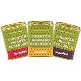 LA PASTORA | Prodotto Gourmet | Confezione da 3 Lattine di Paprika Biologica | Dolce + Piccante + Affumicata | 75g | 100% Naturale | Polvere di Paprika | Antiossidante | Paprika Spagnola