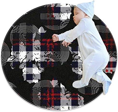 LKJDF ZwartWitRood Speelmat kruipmat airconditioning tapijt peuter slaapkamer voor kinderen