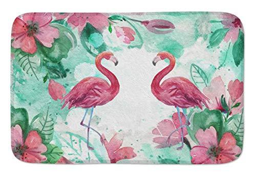 Watercolor Flamingo and Tropical Leaves Doormats Door Mat Entrance Mat Floor Mat Welcome Mats /Outdoor/Front Door/Bathroom Mats Rugs for Home/Office/Bedroom Non Slip Backing (23.6'L x 15.7'W, F-001)